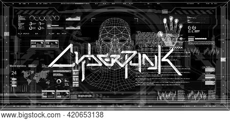 Black And White Screen Banner Concept Cyberpunk With Hud Interface And Scan Palm, Face And Fingerpri