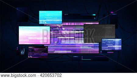 Futuristic Server Room With Screens Glitch Effect. Dark Cyberspace With Burning Monitors, Wires And