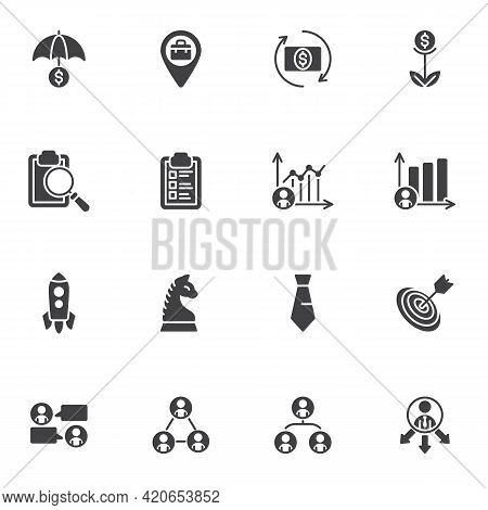 Business And Finance Vector Icons Set, Modern Solid Symbol Collection, Filled Style Pictogram Pack.