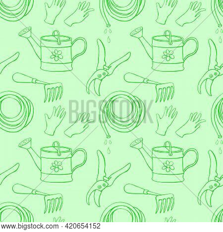 Seamless Pattern With Outline Garden Equipments: Watering Can, Rake, Hoe, Gloves, Pruner, Hose For I
