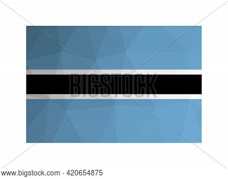 Vector Isolated Illustration. National Botswanian Flag With Light Blue, White And Black Stripes. Off