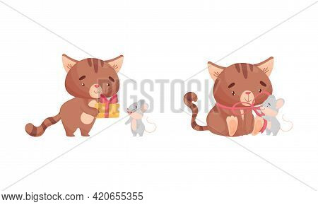 Cute Friendly Cat And Mouse Tie Bow And Giving Cheese Slab Vector Set