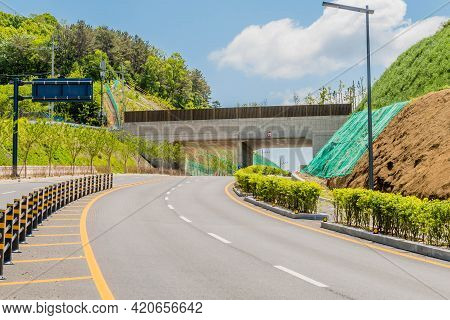 Newly Constructed Underpass On Rural Four Lane Road.