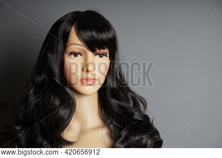 Shop Window Mannequin Or Display Dummy Head With Brunette Wig And Naturalistic Face
