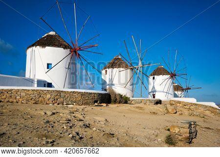 Scenic view of famous Mykonos town windmills. Traditional greek windmills on Mykonos island, Cyclades, Greece