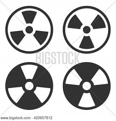 Radioactive Symbol Icon Set. Nuclear Radiation Warning Sign Collection. Atomic Energy Logo Label. Ve