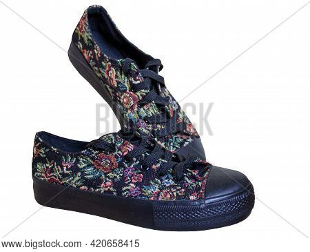 Womens Gym Shoes Isolated On White Background. Cloth Shoe. Black Rag Shoes With A Rubber Platform. C