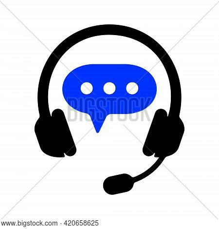 Hotline Sign With Headphones. Call Center Icon Isolated On White Background. Client Support Technolo