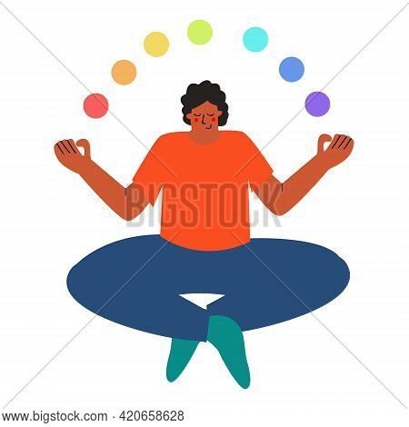 The Man Is Sitting In The Asana Position. Yoga, Balance And Balance In Life. The Concept Of Balance