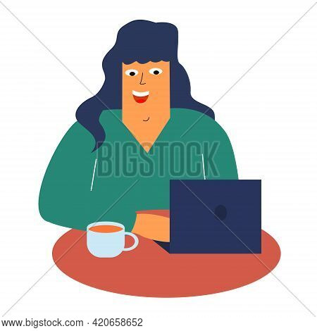 A Cheerful Girl Is Sitting In A Cafe With A Laptop And Drinking Coffee. Work, Study In A Cafe. Freel