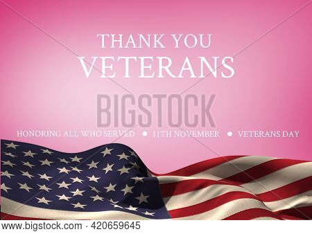 Thank you veterans over american flag waving, veterans day and patriotism concepts. digitally generated image