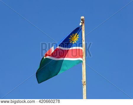 The Flag In The Airport Of Walvis Bay, Namibia