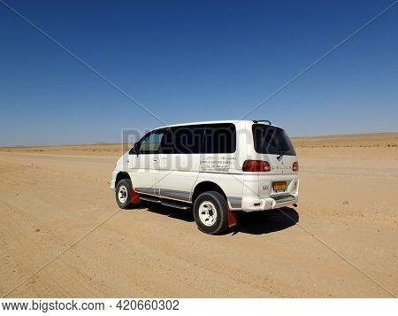 Windhoek, Namibia - 01 May 2012: The Car On The Road, Desert Windhoek, Namibia
