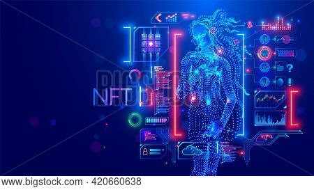 Nft Token In Artwork. Blockchain Technology In Digital Crypto Art, Computer Illustration, Design. Cr