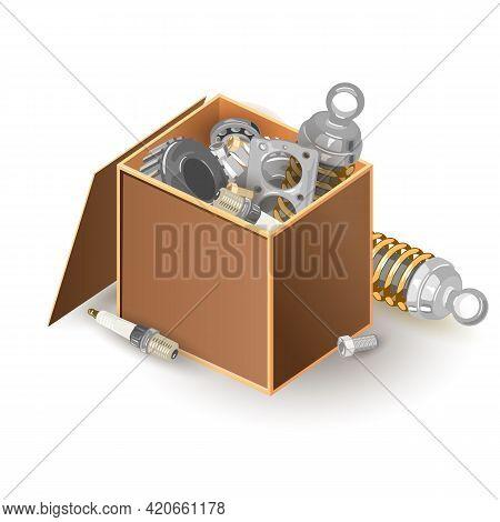 Cartoon Big Open Package Of Handyman Instruments To Repair Broken Things. Vector Metal Details, Bolt