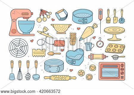 A Set Of Tools For Making Cakes, Cookies And Pastries. Doodle Confectionery Tools - Planetary Statio
