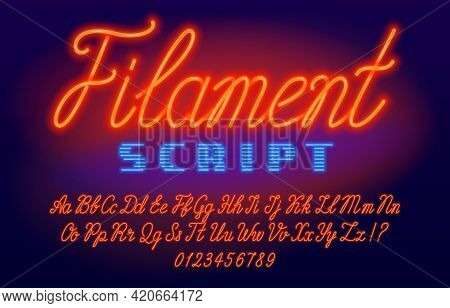 Filament Script Font. Neon Color Letters And Numbers. Uppercase And Lowercase. Stock Vector Typescri