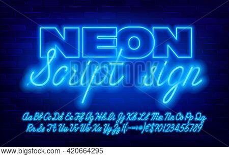 Neon Script Sign Font. Blue Neon Color Letters And Numbers And Punctuation. Uppercase And Lowercase.
