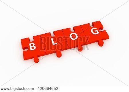 Blog Puzzle Concept White Background 3d Render Illustration