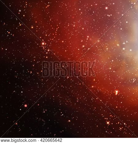 Red Nebula In Outer Space. Night Starry Sky. Dark Cosmic Background