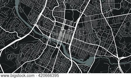 Black And White Austin City Area Vector Background Map, Streets And Water Cartography Illustration.