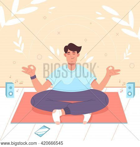 Calm Man With Crossed Legs In Lotus Position Doing Yoga Meditation, Mindfulness Practice, Spiritual