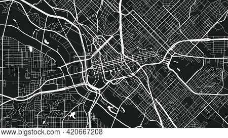 White Black Dallas City Area Vector Background Map, Streets And Water Cartography Illustration. Wide