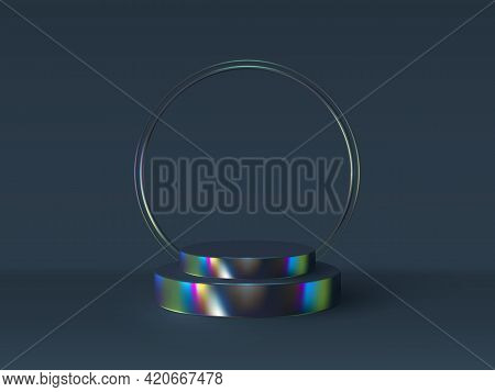 Vector 3d Podium Scene In Iridescent Color. Mockup For Product Presentation With Copy Space. Winner