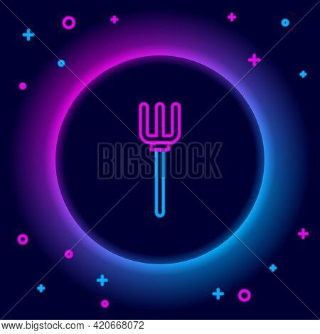 Glowing Neon Line Garden Pitchfork Icon Isolated On Black Background. Garden Fork Sign. Tool For Hor