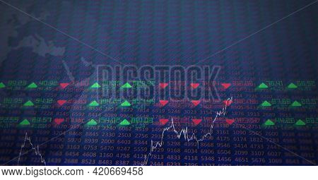 Digitally generated image of stock market data processing against blue background. global finance and technology concept