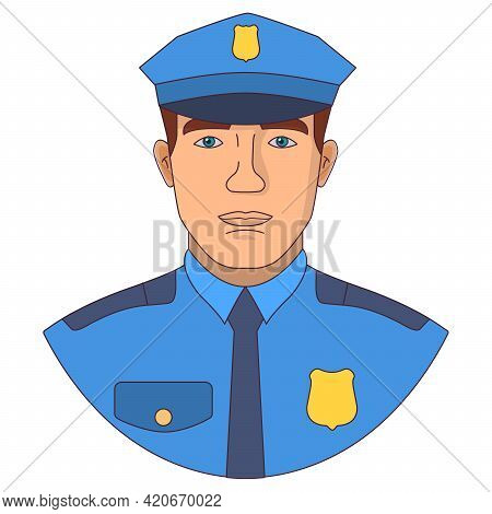 Police Officer Cartoon Character. Police Man In A Uniform.