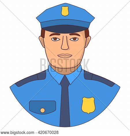Police Character In Uniform. Man Cop. Symbol For A Mobile Application Or Website.