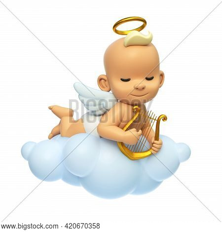 Little Baby Angel Playing Lyre On The Cloud, Cartoon Angel Character With Wings And Halo In The Sky,