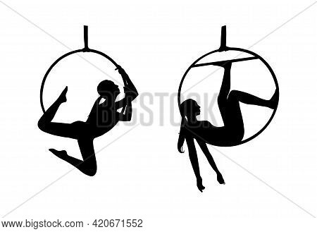 Circus Woman Silhouettes For Logos. Woman Acrobat In The Aerial Hoop. Vector Illustration Isolated I