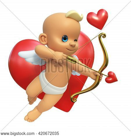Cupid Infront Of Big Red Heart, Love And Valentine's Day Symbol. Cupid Shooting Arrow, Isolated On W