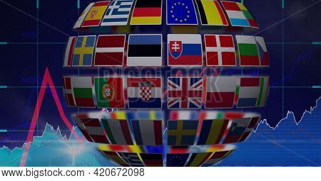 Globe made of different european countries flags against financial data processing. global finance and european union concept