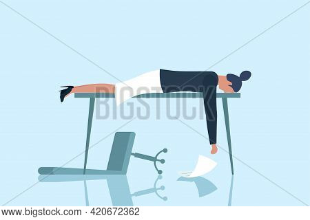 Professional Burnout Syndrome. Exhausted Sick Tired Female Manager Sad Boring Lies With Head Down On