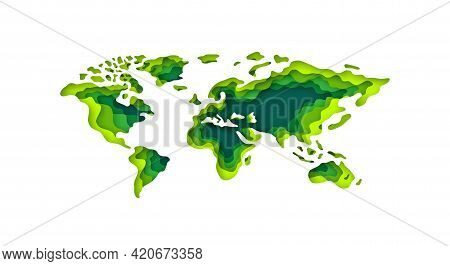 Papercut Style 3d World Map Isolated On White Background. Green Eco Concept. Vector Illustration