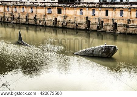 Monument Dedicated To The Sardine In The Segura River In Murcia