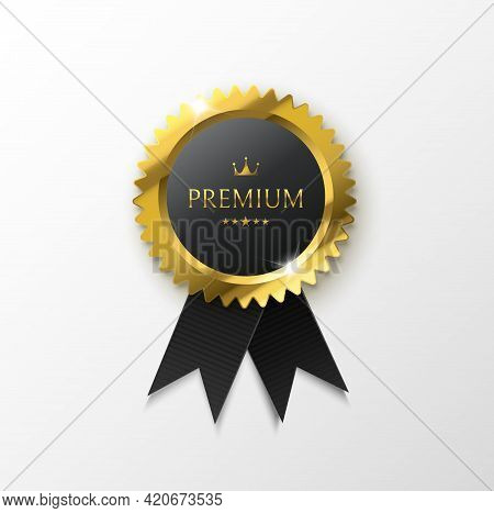 Premium Gold Medal With Black Ribbon Isolated On White. Premium Quality Badge. Vector Illustration