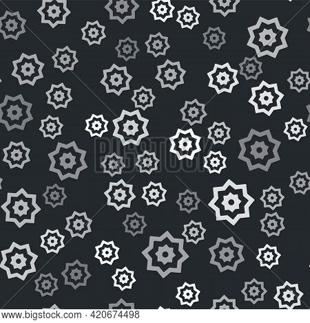 Grey Islamic Octagonal Star Ornament Icon Isolated Seamless Pattern On Black Background. Vector