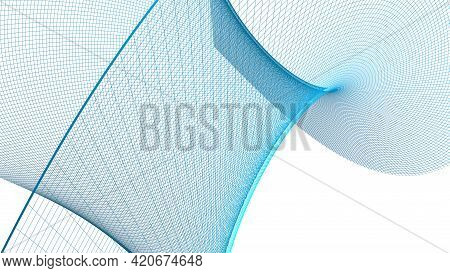 Abstract Grid Blue Surface On White Background - 3d Rendering Illustration