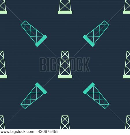 Green And Beige Antenna Icon Isolated Seamless Pattern On Blue Background. Radio Antenna Wireless. T