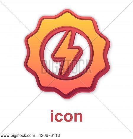 Gold Lightning Bolt Icon Isolated On White Background. Flash Sign. Charge Flash Icon. Thunder Bolt.