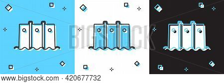 Set Hydroelectric Dam Icon Isolated On Blue And White, Black Background. Water Energy Plant. Hydropo
