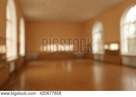 Blurred View Of Empty Modern Ballet Studio