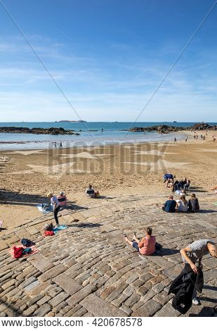 Saint-malo, France - September 15, 2018: The Stars On The Beach In Saint Malo. Brittany, France