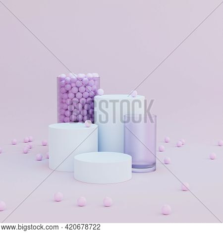 Cylinder Shaped Podiums Or Pedestals For Products Or Advertising On Pastel Pink Background, Minimal