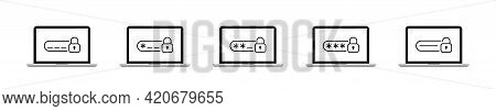 Laptop With Password Secure Vector Flat Set. User Login Icons. Verification Code On Laptop Screen Co