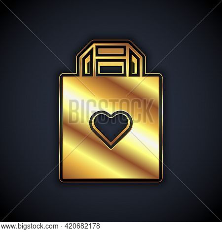 Gold Shopping Bag With Heart Icon Isolated On Black Background. Shopping Bag Shop Love Like Heart Ic